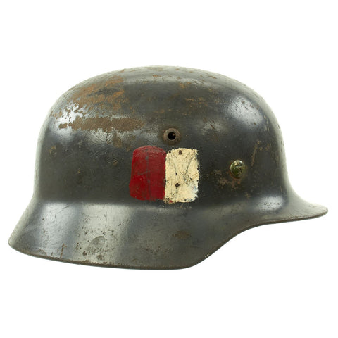 Original German WWII M35 Single Decal Luftwaffe Helmet used by Czechoslovakian Resistance - Q64 Original Items