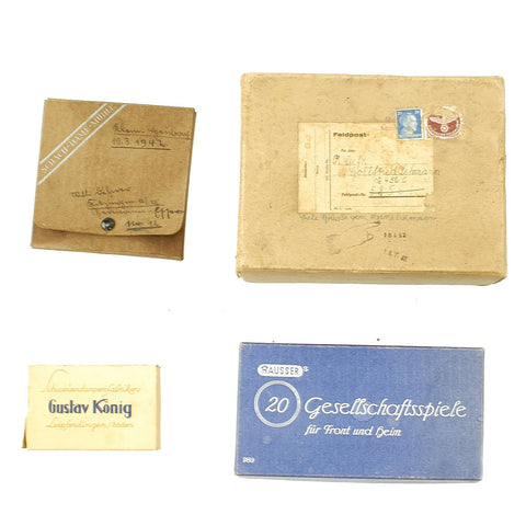 Original German WWII Postmarked Feldpost Box Care Package with Contents Original Items