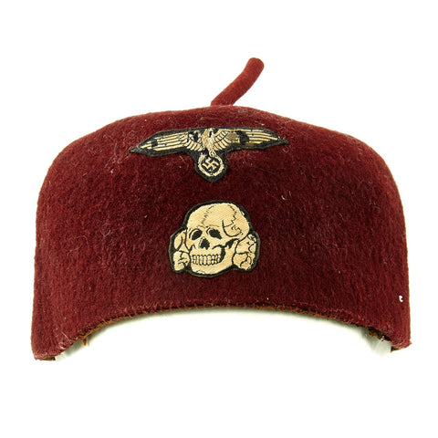 Original German WWII French-Made Waffen SS Maroon Parade Fez for Foreign Volunteers - dated 1940 Original Items