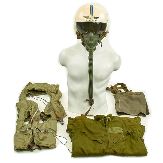 Original U.S. Navy Vietnam War Pilot's Flight Uniform - Gentex BPH-2 Helmet and Coveralls Set Original Items