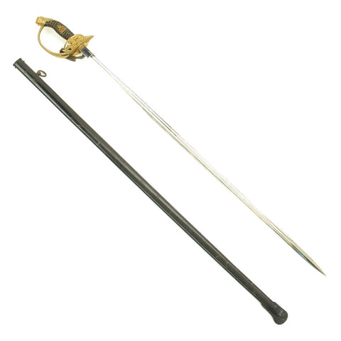 Original Imperial German WWI Model 1889 Prussian Infantry Officer Sword with Scabbard Original Items