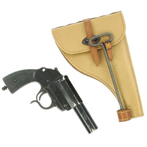 Original German WWII LP 34 Heer Signal Flare Pistol by ERMA-Erfurt with Holster and Cleaning rod - Dated 1940 Original Items