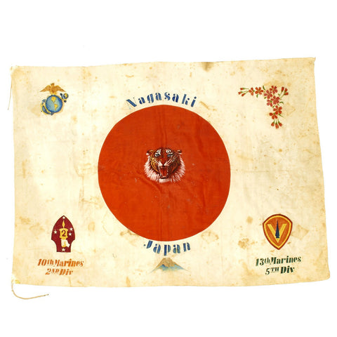 Original WWII Japanese Silk 10th Marine Regiment and 13th Marines Captured Hand Painted Flag Original Items