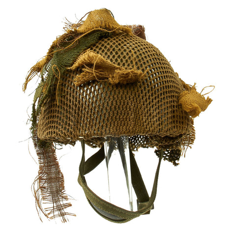 Original Belgian Post WWII British Style Paratrooper Helmet with Net and Burlap Camo Original Items