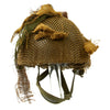 show larger image of product view 1 : Original Belgian Post WWII British Style Paratrooper Helmet with Net and Burlap Camo Original Items