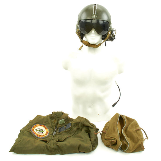 Original U.S. Vietnam War Helicopter Pilot Marine Corps Task Element SHUFLY APH-5 Helmet and Named Flight Suit Original Items