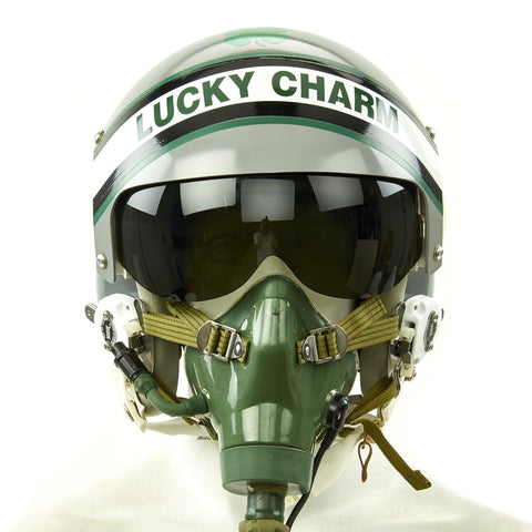 "Original U.S. 1980s ""Lucky Charm"" HGU-26/P Flight Helmet with Single Visor and Chinese Mig-29 Oxytgen Mask Original Items"