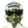 "show larger image of product view 1 : Original U.S. 1980s ""Lucky Charm"" HGU-26/P Flight Helmet with Single Visor and Chinese Mig-29 Oxytgen Mask Original Items"