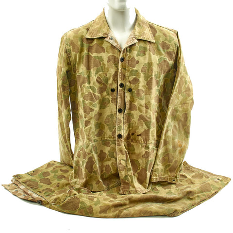 Original U.S. WWII USMC P44 Camouflage Pattern 1944 Utility Uniform Coat & Trousers Original Items