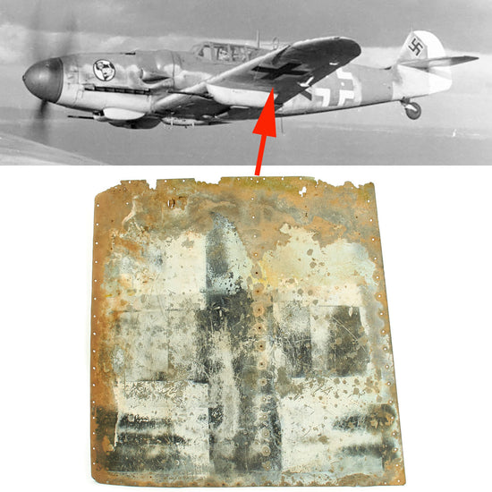 Original German WWII Luftwaffe Messerschmitt Bf 109 Crashed Balkan Cross Lower Wing Section Original Items