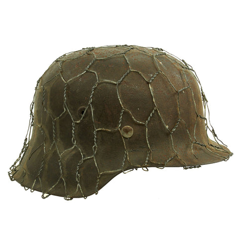 Original German WWII Army Heer M42 Chicken Wire Steel Helmet - marked hkp66 Original Items