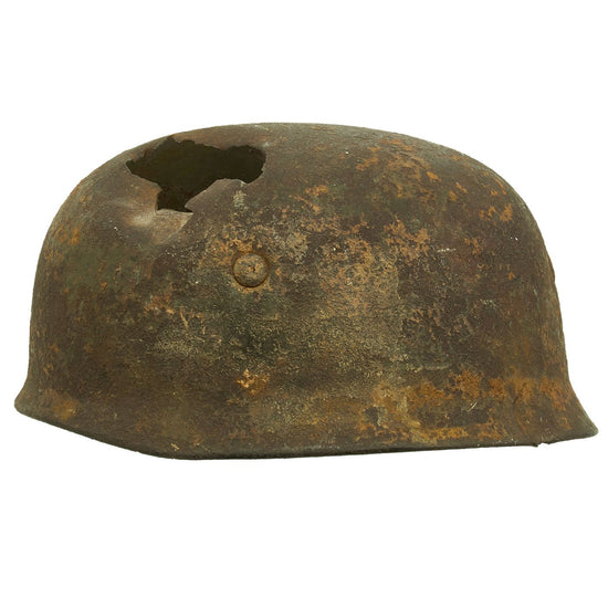 Original German WWII Netherlands Battlefield Pickup Shot-through M38 Luftwaffe Fallschirmjäger Paratrooper Helmet Original Items
