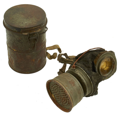 Original Imperial German WWI M1917 Ledermaske Leather Gas Mask with Can & Filter - dated 1918 Original Items