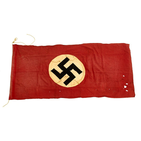 "Original German WWII Service Worn NSDAP National Flag Small Political Banner - 29"" x 63"" Original Items"