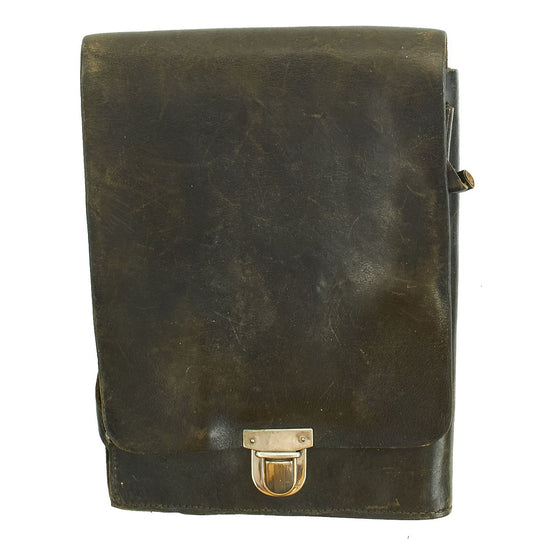Original German WWII Black Leather Map Case Notebook for Civic Fire Protection Police Original Items