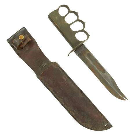 Original U.S. WWII USMC Customized Blade Marked KA-BAR Knife with WWI Mark 1 Trench Knife Brass Grip Original Items