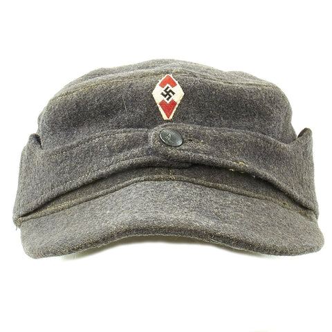 Original German WWII Hitler Youth M43 Feldmütze Field Cap in size 58 - dated 1944 Original Items