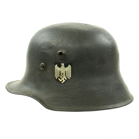 Original German WWII Reissued M18 Army Heer Single Decal Steel Helmet with 55cm Liner - marked B.F 64. Original Items