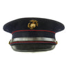 show larger image of product view 1 : Original U.S. WWII Marine Dress Blue Uniform Visor Cap - Dated 1933 Original Items