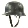 show larger image of product view 4 : Original German WWII Battle Damaged M34 Square Dip NSDAP Civic Police Steel Helmet Original Items