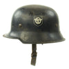 show larger image of product view 2 : Original German WWII Battle Damaged M34 Square Dip NSDAP Civic Police Steel Helmet Original Items
