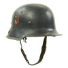 show larger image of product view 6 : Original German WWII Battle Damaged M34 Square Dip NSDAP Civic Police Steel Helmet Original Items