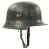 show larger image of product view 1 : Original German WWII Battle Damaged M34 Square Dip NSDAP Civic Police Steel Helmet Original Items