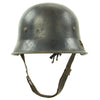 show larger image of product view 8 : Original German WWII Battle Damaged M34 Square Dip NSDAP Civic Police Steel Helmet Original Items