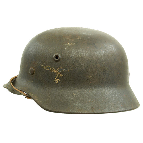 Original German WWII M40 Single Decal Luftwaffe Helmet with Partial Liner & Chinstrap - Q64 Original Items