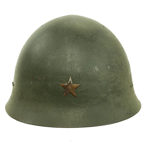 Original Japanese WWII Type 92 Army Combat Helmet Period Repainted Green & dated 1942 - Tetsubo Original Items