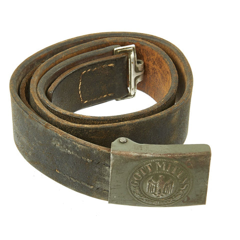 Original German WWII Wehrmacht Army Heer Leather Belt with Steel Buckle by Hermann Aurich - dated 1941 Original Items