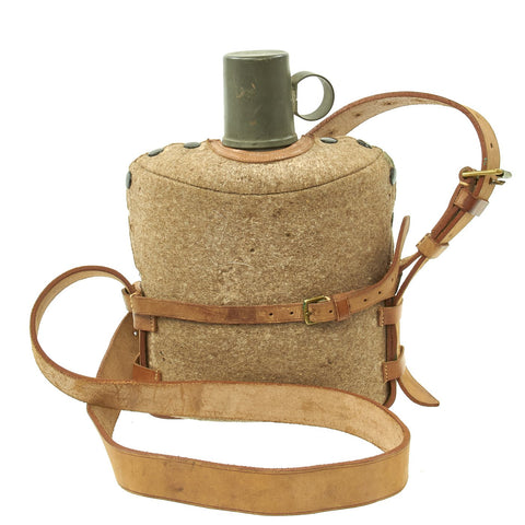 Original British WWII Large Medics Tin Water Bottle Canteen in Carrier - Maker Marked & dated 1940 Original Items