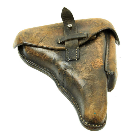 Original German WWII Field-Modified P.08 Luger Black Leather Holster by Carl Busse - dated 1942 Original Items