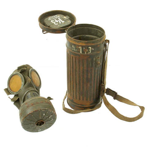 Original German WWII Named M38 Gas Mask in Size 2 with Filter, Can, & Accessories - dated 1940 Original Items