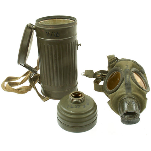 Original German WWII M30 3rd Model Size 2 Gas Mask with Filter & Can - All WWII Dated Original Items