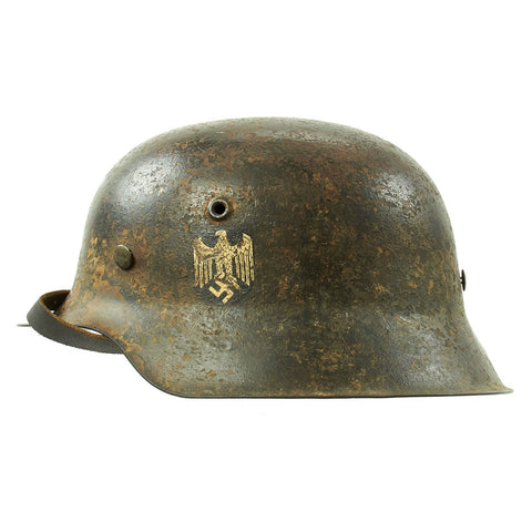 Original German WWII M42 Service Worn Single Decal Army Heer Helmet with 56cm Liner - ET64 Original Items