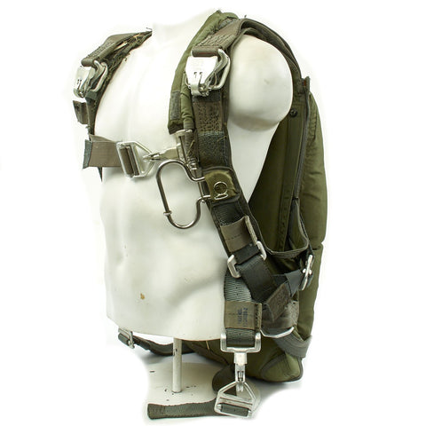 Original U.S. Cold War Back Pack Style Parachute and Harness with Canopy Original Items