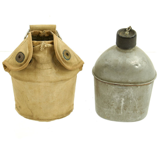 Original U.S. WWII Canteen and Cup in 2nd Pattern USMC Canvas Carrier Original Items