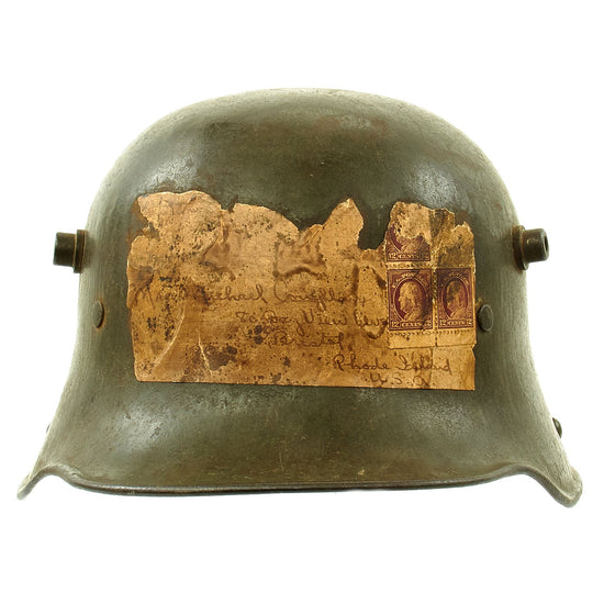 Original Imperial German WWI M16 Stahlhelm Helmet with Attached Bring Back Mailing Label - B.F.64. Original Items