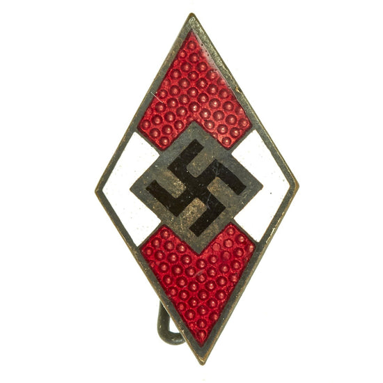 Original German WWII Hitler Youth HJ Enamel Cap Badge by Karl Wurster - RZM M1/34 Original Items