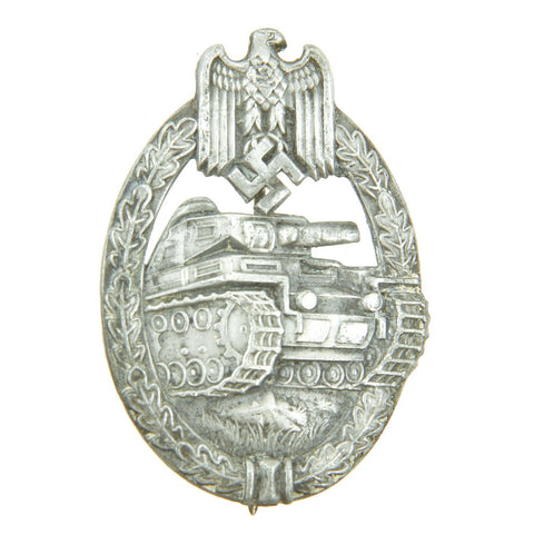 Original German WWII Silver Grade Panzer Assault Tank Badge - Hollow Back Version Original Items