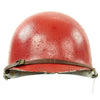 show larger image of product view 3 : Original U.S. WWII - Korean War Named M1 McCord Front Seam Helmet painted Red with Firestone Liner Original Items