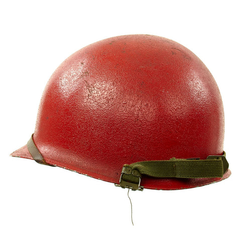 Original U.S. WWII - Korean War Named M1 McCord Front Seam Helmet painted Red with Firestone Liner Original Items