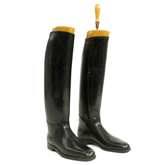 Original German WWII Tall Black Leather Jackboots Riding Boots - Size 11 Original Items