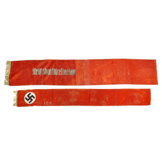 Original German WWII USGI Bring Back Set of Two Partial Funeral Sashes with Fringes & Markings Original Items
