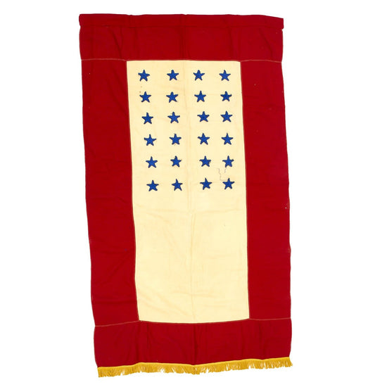 "Original U.S. WWII Era Blue Star Mother's Service Banner with 24 Stars & Gold Fringe - 57"" x 33 Original Items"