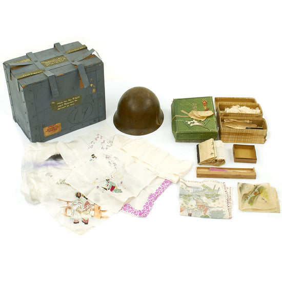 Original Japanese WWII U.S. Navy Send Home Box with Type 90 Helmet and Mementos Original Items