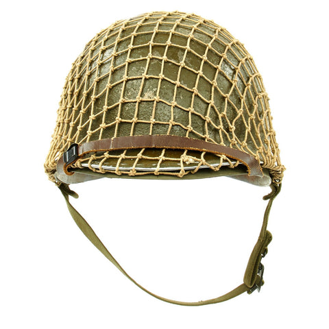 Original U.S. WWII 1943 M1 McCord Front Seam Fixed Bale Helmet with Firestone Liner and Net Original Items