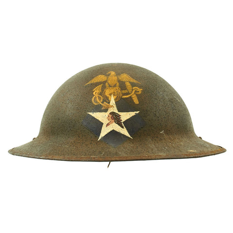 Original WWI U.S. M1917 Doughboy Helmet with Replicated 3rd Battalion 6th Marines Marking - 2nd Division Original Items