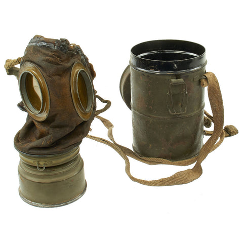 Original Imperial German WWI M1917 Ledermaske Leather Gas Mask with Can and Filter - Dated 1918 Original Items